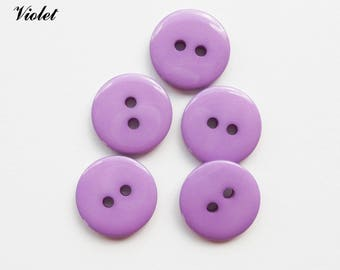 Set of 5 buttons round 15 mm 2-hole: Violet