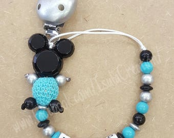 Mickey personalized wooden pacifier clip