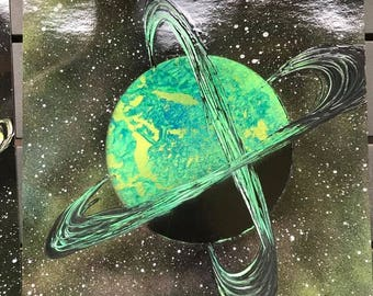 Spray Paint Art - Green Planet X with Two Rings