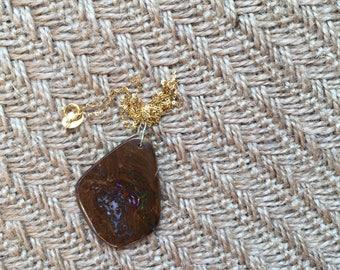 18K Opal original stone necklace