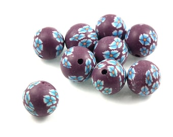 X 10 beads polymer clay Brown/Blue 12 mm