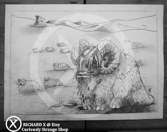 Original BANTHA Pencil Sketch : STAR WARS - A4 size