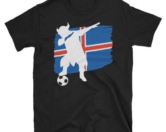 Iceland - Iceland Soccer - Icelandic - Icelandic Soccer - Iceland Football - Viking - Dab Dance - Iceland Flag - Icelandic Flag - Short-Slee