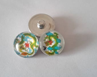 Set of 2 buttons pressure 18mm Chinese dragons