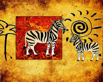 ORIGINAL design, durable and WASHABLE PLACEMAT - zebras African style - classic.