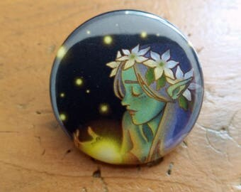 Dryad and fireflies 32mm badge