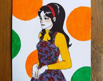 Drawing Original - woman inspired 70's size A6