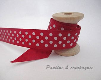 1 meter of Ribbon Red satin striped width 13 mm