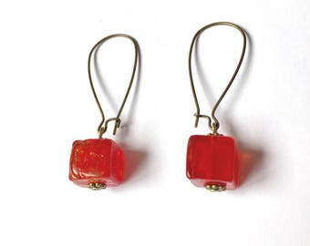 Earrings in brass (nickel and lead free) and Murano glass (Murano)