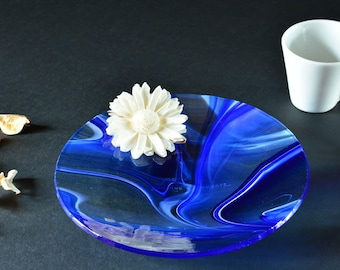 Blue and white round dish unique blown glass and handmade - home decor - tableware - candle holder or SOAP dish