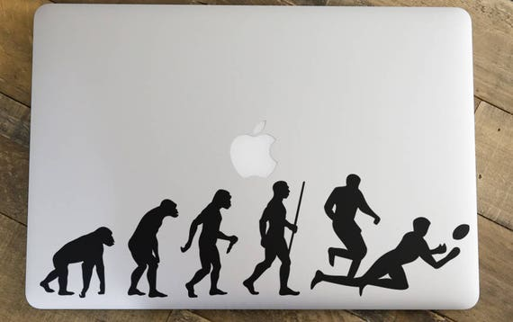 Man Evolution to Rugby Decal Sticker for Macbooks and other Laptops, American Football,  Rugby Football Union, RFU, World CUP, mac