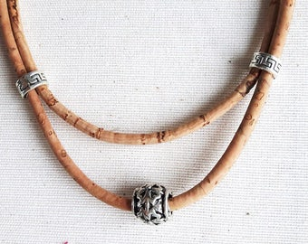 Necklace in Cork, two rows of different sizes