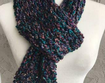 Handmade Knitted Scarf w/Loop Item #2003