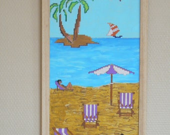 Table Art Naif:style cross stitch: the beach