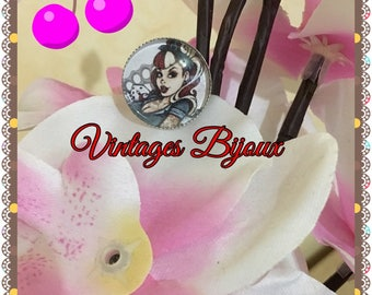 Silver plated Adjustable ring retro pinup