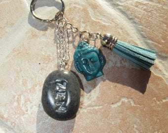 Keychain or bag charm zen with zen stone and Buddha made polymer clay by hand