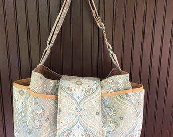 Handmade large messenger bag with flap closure- turquoise paisley