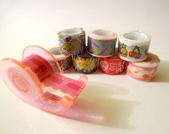 Set of 8 mini masking tape and dispenser - Scrapbook - embellishment (set B)
