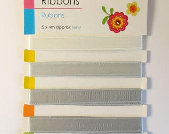 5 ribbons grayscale - 5x80cm - scrapbooking - sewing - embellishment