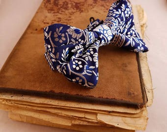 Royal blue with silver handmade Bow Tie for men, Wedding or any Special occasion