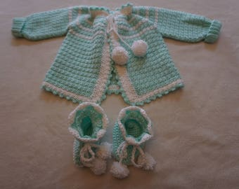 Crocheted Mint Green Baby Girl Sweater and Booties Set