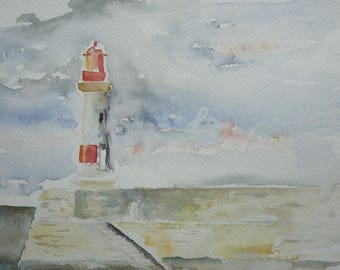 Original watercolor painting of the lighthouse at the entrance to port Croix Island