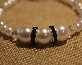 Pearl and Blue Crystal Wedding Set