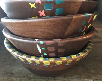 Hand painted wooden bowls