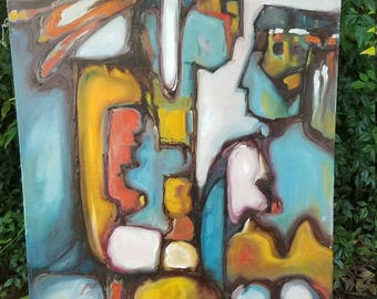 Abstract oil painting on canvas   S Ivy  Bright bold colors