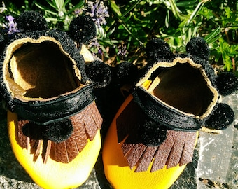 Yellow Baby Shoes with Ball Fringe