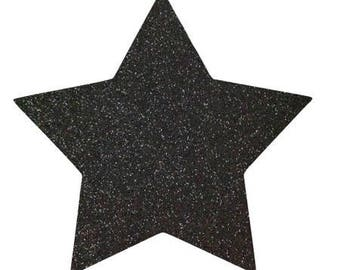 10 X 9.5 cm black glittery star fusible pattern