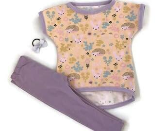 T-shirt and tights for toddler, children, t-skjorte, leggings, rabbit, kanin, pinnsvin, peach, purple,