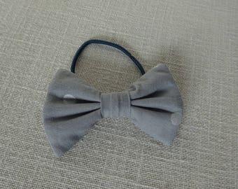 Gray polka dot bow elastic silver
