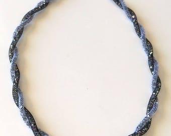 FishNet tubular black and grey necklace