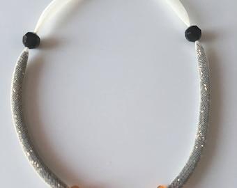 Tubular mesh necklace cream seed bead