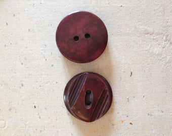 Pair of original Burgundy vintage buttons!