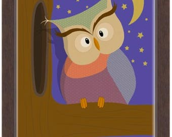 Owl At Night Nursery Wall Art Printable Digital Instant Download