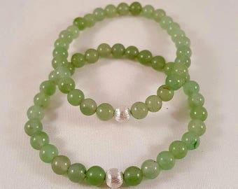 Beautiful filigree gemstone bracelet made of aventurine and 925 silver bead