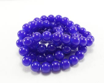 20 dark blue glass beads approximately 10mm for creations