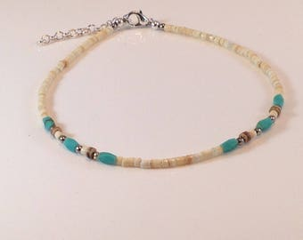 Shell, Turquoise, and Coconut Bead Anklet