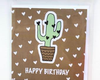 Kaktus-Liebe-Herz-Geburtstagskarte