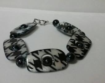 Houndstooth black and white bracelet
