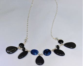 Blue and Black Handmade Necklace