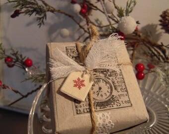 Fake gift, gray kraft paper, shabby vibe