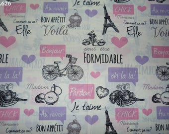 Fabric C626 Paris Pink/Purple coupon 35x50cm