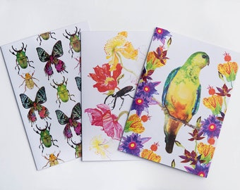 Pack of 3 A5 Illustrated Greetings Cards