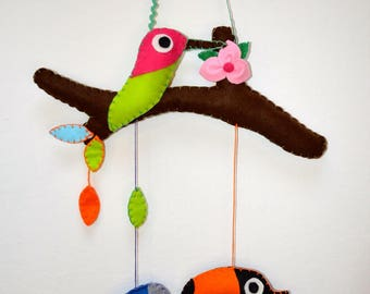Stitchable shaped branch with birds