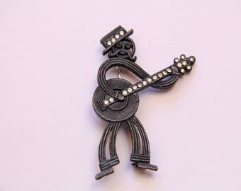 Vintage 1950s Signed Coro Mustached Banjo Player Black Metal With Clear Rhinestone Accents