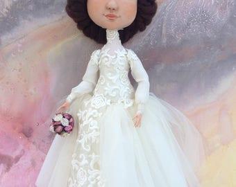 Doll bride from cloth gift for wedding newlyweds white dress creamy for betrothal wedding art doll Bride groom La sposa lo spoke matrimonio