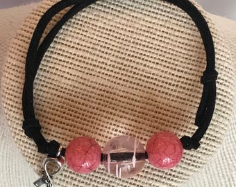 Hope Bracelet, Hope Charm Bracelet, Pink Bracelet, Pink Beaded Bracelet, Adjustable Bracelet, Suede Bracelet